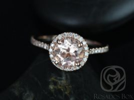 Rosados Box Kubian 7mm 14kt Rose Gold Round Morganite and Diamonds Halo Engagement Ring