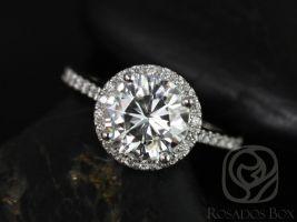 Rosados Box Kubian 8mm14kt White Gold Round F1- Moissanite and Diamonds Halo Engagement Ring