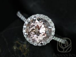 Rosados Box Kubian 8mm 14kt White Gold Round Morganite and Diamonds Halo Engagement Ring