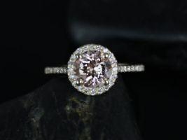 Rosados Box Kubian 7mm 14kt Yellow Gold Round Morganite Halo Engagement Ring