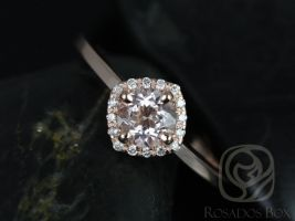 Rosados Box Kyla 5mm 14kt Rose Gold Round Morganite and Diamond Cushion Halo Engagement Ring