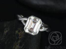 Rosados Box Leslie 9x7mm 14kt White Gold Emerald Forever One GHI Moissanite Bezel Twist Engagement Ring