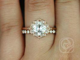 Rosados Box Lily 7mm & Naomi 14kt Rose Gold Cushion F1- Moissanite and Diamond Kite Halo Wedding Set