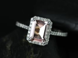 Rosados Box Lisette 8x6mm 14kt White Gold Rectangle Emerald Morganite and Diamonds Halo Engagement Ring