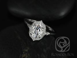 Rosados Box Mae 8x6mm 14kt White Gold Oval Forever One Moissanite and Diamond Halo WITH Milgrain Engagement Ring