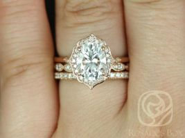 Rosados Box Mae 9x7mm,Christie,& Pernella 14kt Rose Gold Oval F1- Moissanite and Diamond Halo TRIO Wedding Set