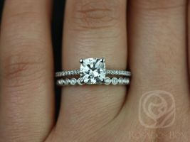 Rosados Box Marcelle 6.5mm & Petite Bubbles 14kt White Gold Cushion F1- Moissanite and Diamond Wedding Set