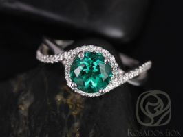 Rosados Box Maritza 7mm 14kt White Gold Round Emerald and Diamonds Halo Twist Engagement Ring