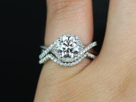 Rosados Box Maritza 7mm 14kt White Gold Round F1- Moissanite and Diamonds Halo Twist Wedding Set