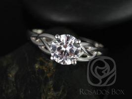 Rosados Box McCara 7mm 14kt White Gold Round White Sapphire Celtic Knot Engagement Ring
