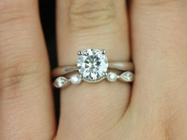 Rosados Box Flora 7mm and Bead & Eye 14kt White Gold F1- Moissanite and Diamonds Cathedral Wedding Set