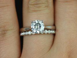 Rosados Box Flora 7mm & Petite Bubbles 14kt White Gold Round F1- Moissanite and Diamonds Wedding Set