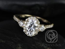 Rosados Box Natalia 8x6mm 14kt Yellow Gold Oval F1- Moissanite and Diamonds Halo Engagement Ring