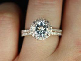 Rosados Box Kubian 8mm 14kt Rose Gold Round White Topaz and Diamonds Halo Wedding Set