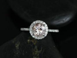 Rosados Box Kubian 7mm 14kt White Gold Round Morganite Halo Engagement Ring