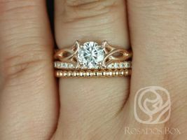 Rosados Box Orla 6mm, Pernella, & Bdha Bds 14kt Rose Gold Round F1- Moissanite and Diamonds Celtic Knot TRIO Wedding Set