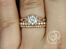 Rosados Box Orla 6mm, Pte Naomi, & Bdha Bds 14kt Rose Gold Round F1- Moissanite and Diamonds Celtic Knot TRIO Wedding Set