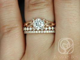 Rosados Box Orla 6mm, Pte Naomi, & Pernella 14kt Rose Gold Round F1- Moissanite and Diamonds Celtic Knot TRIO Wedding Set