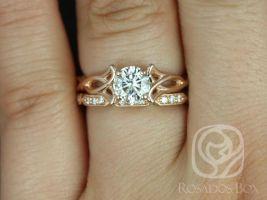 Rosados Box Orla 6mm & Stella 14kt Rose Gold Round F1- Moissanite and Diamonds Celtic Knot Triquetra Wedding Set