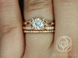 Rosados Box Orla 6mm, Stella, & Bdha Bds 14kt Rose Gold Round F1- Moissanite and Diamonds Celtic Knot TRIO Wedding Set