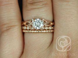 Rosados Box Orla 6mm, Ult Pt Gwen, & Bdha Bds 14kt Rose Gold Round F1- Moissanite and Diamonds Celtic Knot TRIO Wedding Set