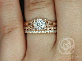 Rosados box Orla 6mm, Ult Pt Gwen, & Pernella 14kt Rose Gold Round F1- Moissanite and Diamonds Celtic Knot TRIO Wedding Set