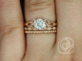 Rosados Box Orla 6mm, Ult Pt Leah, & Bdha Bds 14kt Rose Gold Round F1- Moissanite and Diamonds Celtic Knot TRIO Wedding Set