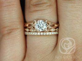Rosados Box Orla 6mm, Ult Pt Leah, & Pernella 14kt Rose Gold Round F1- Moissanite and Diamonds Celtic Knot TRIO Wedding Set