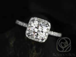 Rosados Box Pernella 7mm 14kt White Gold Cushion F1- Moissanite and Diamonds Halo Engagement Ring