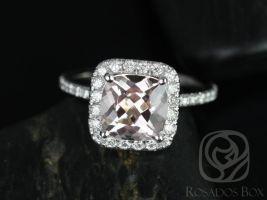 Rosados Box Pernella 8mm 14kt White Gold Cushion Morganite and Diamonds Halo Engagement Ring