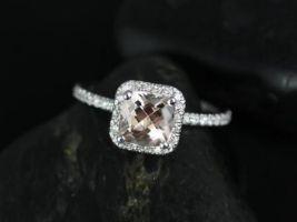 Rosados Box Pernella 7mm 14kt White Gold Cushion Morganite and Diamonds Halo Engagement Ring