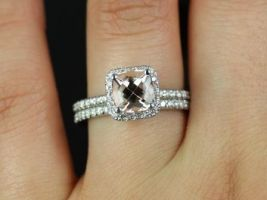 Rosados Box Pernella 7mm White Gold Cushion Morganite and Diamonds Halo Wedding Set