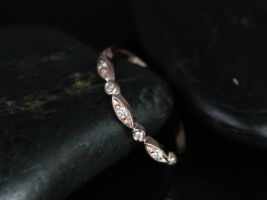 Rosados Box 14kt Rose Gold Petite Bead & Eye Diamond Vintage Style Half Eternity Band