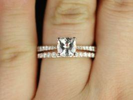 Rosados Box Taylor 6mm 14kt Rose Gold Cushion Morganite and Diamond Cathedral Wedding Set