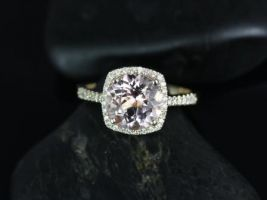 Rosados Box Barra 9mm 14kt Yellow Gold Round Morganite and Diamonds Cushion Halo Engagement Ring