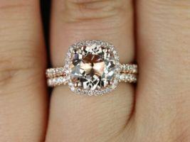 Rosados Box Barra 9mm14kt Rose Gold Round Morganite and Diamond Cushion Halo Wedding Set