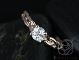 Rosados Box Prudence 5mm Rose Gold Round White Topaz Braided Engagement Ring