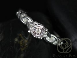 Rosados Box Prudence 5mm White Gold Round White Topaz Braided Engagement Ring
