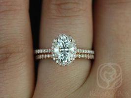 Rosados Box Rachel 8x6mm 14kt Rose Gold Thin Oval F1- Moissanite and Diamonds Halo Wedding Set