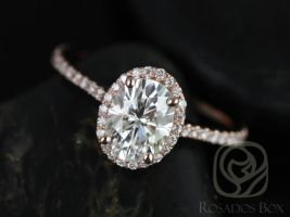 Rosados Box Rachel 8x6mm 14kt Rose Gold Thin Oval F1- Moissanite and Diamonds Halo Engagement Ring