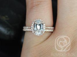 Rosados Box Rebecca 8x6mm 14kt Rose Gold Oval White Sapphire and Diamond Halo Classic Wedding Set