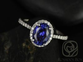 Rosados Box Rebecca 8x6mm 14kt White Gold Oval Blue Sapphire and Diamonds Halo Engagement Ring