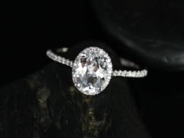 Rosados Box Rebecca 8x6mm 14kt White Gold Oval White Topaz and Diamond Halo Engagement Ring