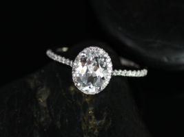Rosados Box Rebecca 8x6mm 14kt White Gold Oval White Topaz and Diamond Halo Engagement Ring