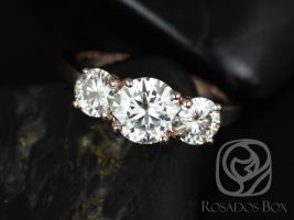 Rosados Box Robyn 7mm 14kt Rose Gold Round F1- Moissanites 3 Stone Engagement Ring