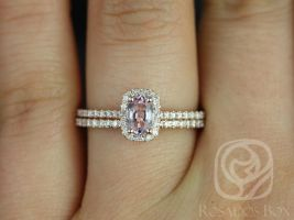 Rosados Box Romani 6x4mm 14kt Rose Gold Cushion Halo Peach Sapphire Engagement Ring Cushion Halo w/ Diamonds