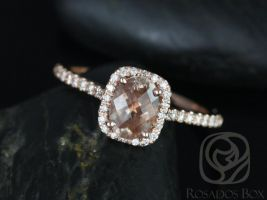 Rosados Box Romani 7x5mm 14kt Rose Gold Oregon SunStone and Diamonds Cushion Halo Engagement Ring