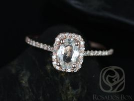 Rosados Box Romani 7x5mm 14kt Rose Gold White Sapphire and Diamonds Cushion Halo Engagement Ring
