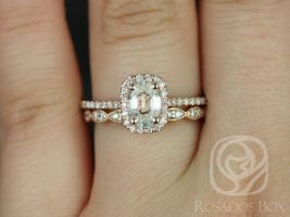Rosados Box Romani 7x5mm & Christie 14kt Rose Gold Oval White Sapphire and Diamonds Cushion Halo Wedding Set