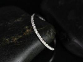 Rosados Box 14kt White Gold Matching Band to Romani 7x5mm /Rebecca 8x6mm/Esmeralda Split Comb Halfway Eternity Band